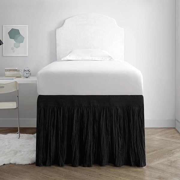 Crinkle Bed Skirt Twin Xl 3 Panel Set Black Free Shipping