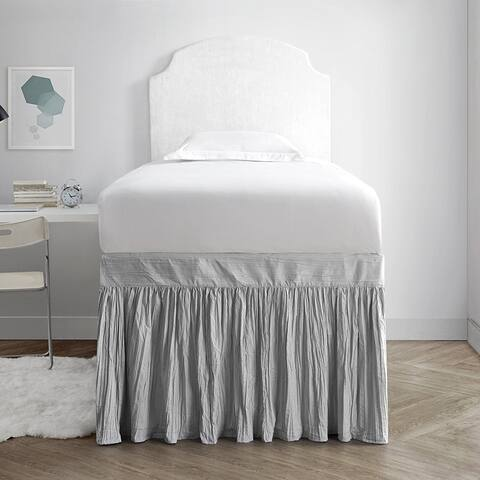 Crinkle Twin XL 30-inch Drop 3 Panel Bed Skirt