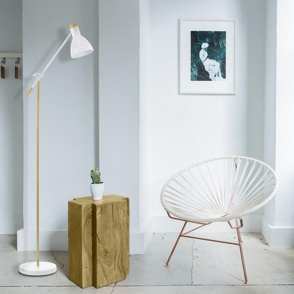 """Faux Wood Flooring Reviews: Shop Novogratz 70"""" Floor Lamp, White, Matte Finish, Faux"""