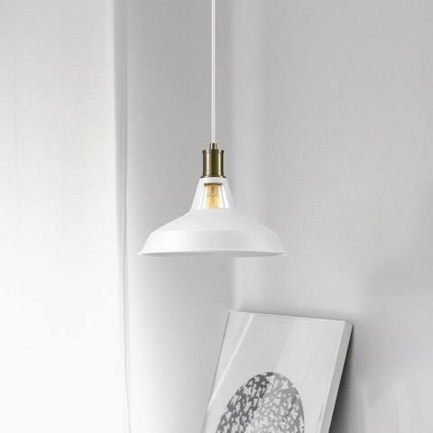 Porch & Den Ardenwood Matte White 1-light Barnyard Pendant