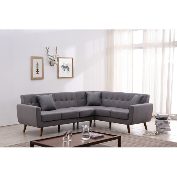 Kivik Mid Century Modern Right Hand Facing Tufted Sectional Sofa