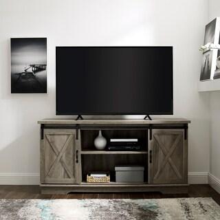 Rustic Sliding Barn Door TV Console (Option: grey wash)