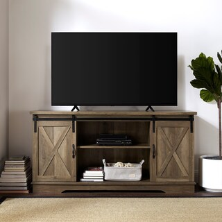 The Gray Barn Wind Gap 58-inch Sliding Barn Door TV Console