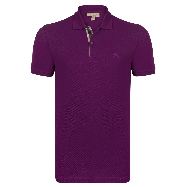 street price baby sports shoes Men's Burberry Short Sleeve Dark Royal Purple Polo Shirt