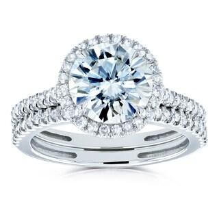 Annello By Kobelli 14k Gold 2 1 3ct TGW Moissanite And Diamond Round Halo Bridal Rings Set HI VS GH I