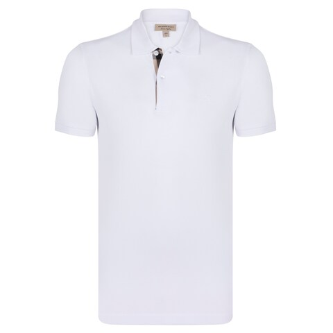 Men's Burberry Short Sleeve White Polo Shirt