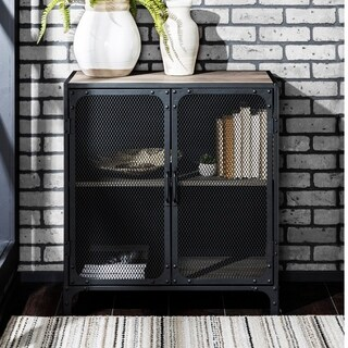 Metal Mesh 2-Door Accent Cabinet - 29 x 16 x 30h