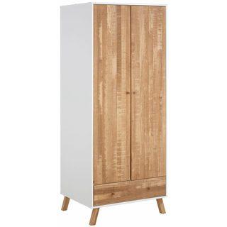 Rafael 2 Door 1 Drawer Wardrobe, solid pine, off white / natural