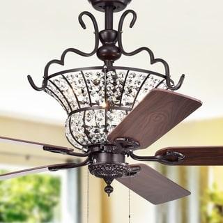 Charla II 3-light Crystal 5-blade 52-inch Brown Ceiling Fan (2 Color Option Fan Blades)