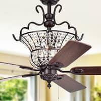 Charla II 3-light Crystal 5-blade 52-inch Brown Ceiling Fan