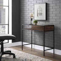 35 Inch Metal Wood Compact Desk with Glass