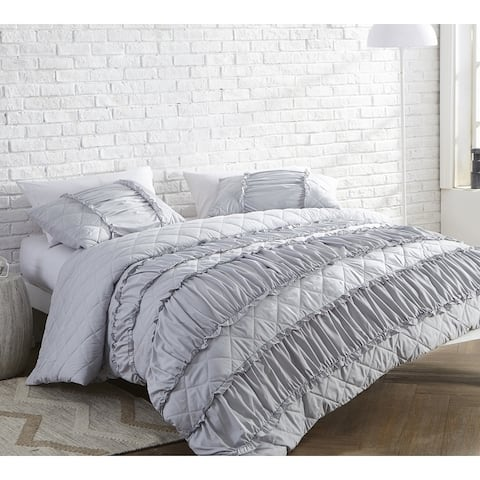 BYB Ruffle Pleats Oversized Duvet Cover - Glacier Gray