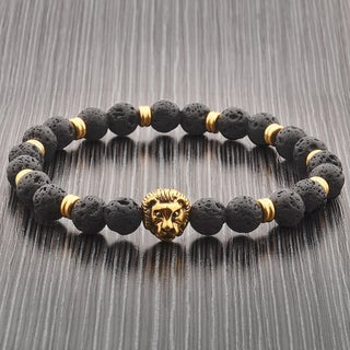 Lava Stone Stainless Steel Lion Head Beaded Bracelet (12mm)