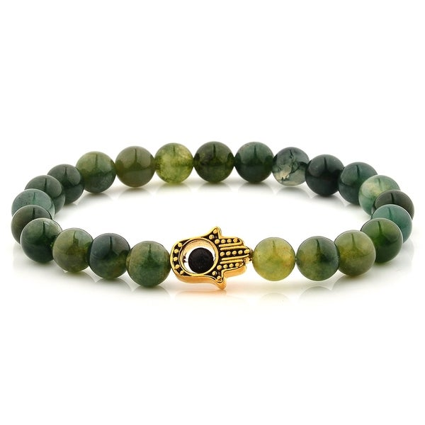 stainless plated gold moss agate product watches steel beaded stone jewelry bracelet hamsa