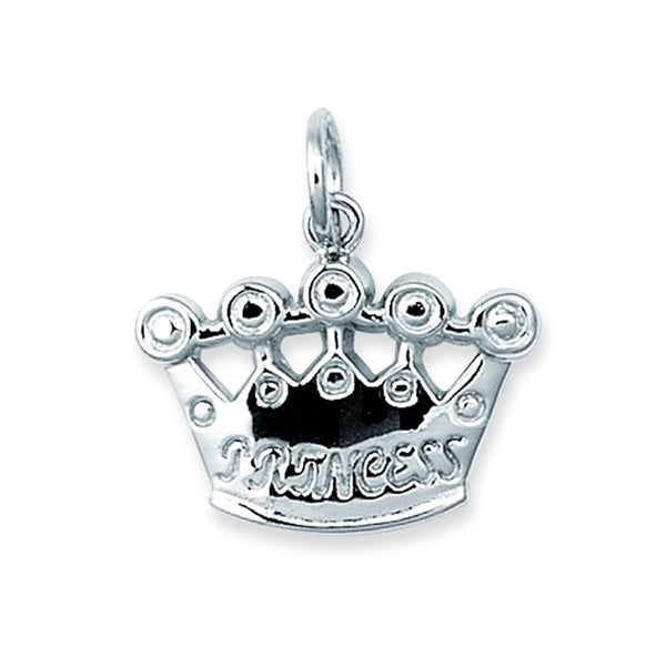 Shop Sterling Silver Princess Crown Charm - Free Shipping On Orders Over   45 - Overstock - 21852982 8e93e6c53a46