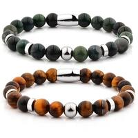 Polished Natural Stone Stainless Steel Beaded Bracelet (8mm)