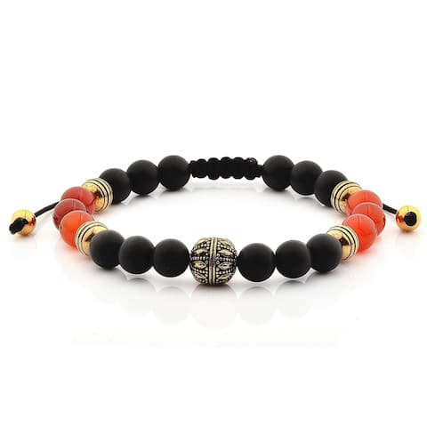 Crucible Onyx and Agate Stone Stainless Steel Adjustable Bracelet