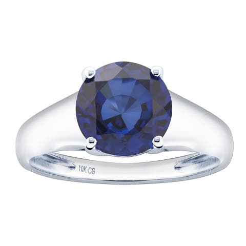 10K White Gold 2.92ct TW Tanzanite Solitaire Ring - Purple