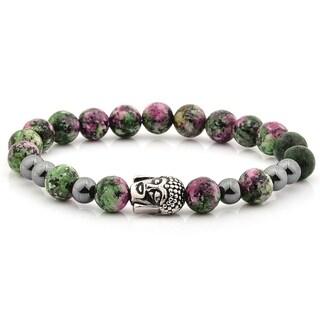 Anyolite and Hematite Stone Stainless Steel Buddha Bracelet (10mm)