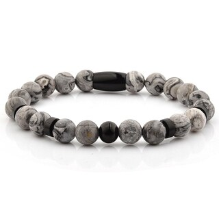 Black Plated Stainless Steel Jasper Stone Beaded Bracelet (8mm)