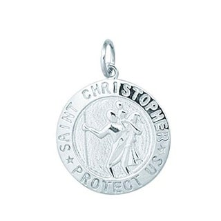 Sterling Silver Saint Christopher Disc Charm
