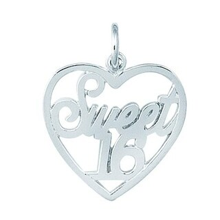 Sterling Silver Sweet 16 Heart Charm