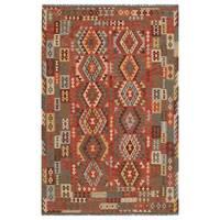 Handmade Herat Oriental Afghan Hand-woven Wool Kilim (6'5 x 9'10) (Afghanistan)