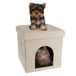 Pet House Ottoman- Collapsible Multipurpose Cat or Small Dog Bed Cube by PETMAKER