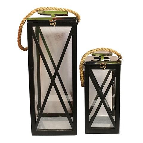 Essential Décor & Beyond 2pc Wooden Lantern EN18215