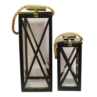 Essential Décor & Beyond 2pc Wooden Lantern EN18215