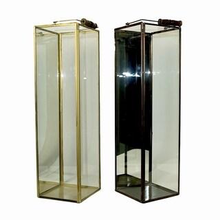 Essential Décor & Beyond 2pc Tall Square Glass Lantern EN19062