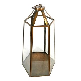 Essential Décor & Beyond Antique Copper Glass Lantern EN19054