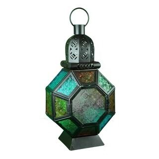 Essential Décor & Beyond Multicolored Metal and Glass Lantern EN112918