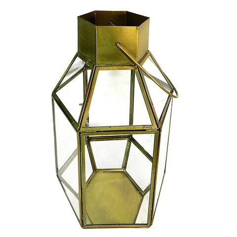 Essential Décor & Beyond Antique Brass Hexagon Metal Lantern EN19169