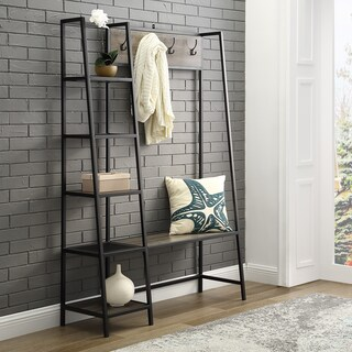 "68"" Angled Side Hall Tree With Shelves - 46 x 16 x 68h"