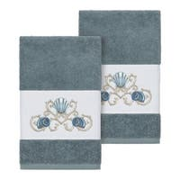 Authentic Hotel and Spa Turkish Cotton Shells Embroidered Teal Blue 2-piece Towel Hand Set