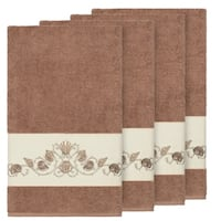 Authentic Hotel and Spa Turkish Cotton Shells Embroidered Latte Brown 4-piece Bath Towel Set