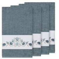 Authentic Hotel and Spa Turkish Cotton Shells Embroidered Teal Blue 4-piece Bath Towel Set