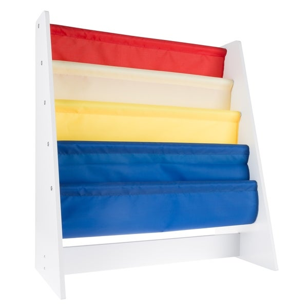 Kids Bookshelf Storage Rack With Colorful Fabric Sling Shelves By Hey Play