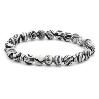 Striped Zebra and Stainless Steel Beaded Stretch Bracelet (8mm)