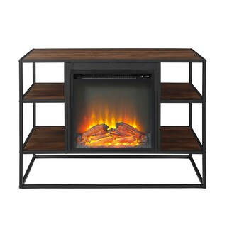 """40"""" Metal and Wood Open-Shelf Fireplace Console - 40 x 16 x 26h"""