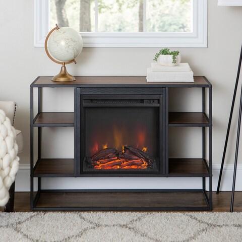 Industrial Metal Wood Open-Shelf Fireplace Console
