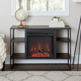 Industrial Metal Wood Open-Shelf Fireplace Console