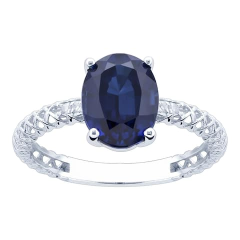 10K White Gold 3.06ct TW Sapphire and Diamond Ring - Blue