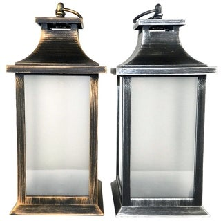 Essential Décor & Beyond 2pc Plastic Lantern With LED Copper Light EN12277