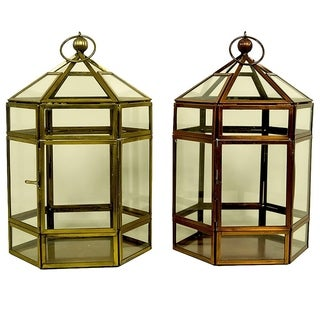 Essential Décor & Beyond 2pc Classic Glass Lantern EN19059