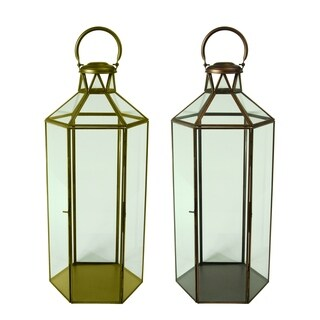 Essential Décor & Beyond 2pc Hexagon Glass Lantern EN19060