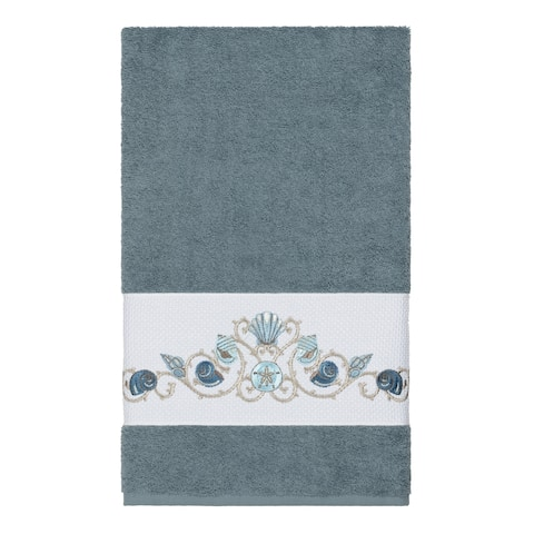 Authentic Hotel and Spa Turkish Cotton Shells Embroidered Teal Blue Bath Towel