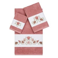 Authentic Hotel and Spa Turkish Cotton Shells Embroidered Tea Rose 3-piece Towel Set