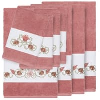 Authentic Hotel and Spa Turkish Cotton Shells Embroidered Tea Rose 8-piece Towel Set